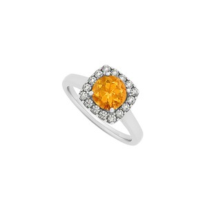 LoveBrightJewelry Citrine And Cz Halo Engagement Ring In Sterling Silver November Birthstone Fashion Jewelry