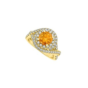 LoveBrightJewelry Citrine And Cz Twisted Shank Engagement Ring 1.75 Tgw