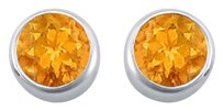 LoveBrightJewelry Citrine Bezel Set Stud Earrings 925 Sterling Silver 2.00 CT TGW