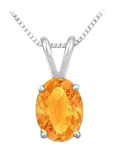 LoveBrightJewelry Citrine Solitaire Pendant in Rhodium Treated925 Sterling Silver 3.00 CT TGW