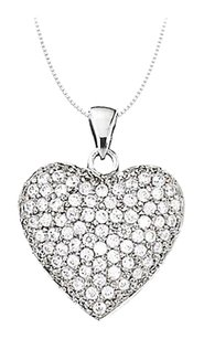 LoveBrightJewelry Classic April birthstone Heart Pendant in 14K White Gold 1.00 CT TGW
