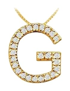 LoveBrightJewelry Classic G Initial Cubic Zirconia Pendant 18K Yellow Gold Vermeil 0.50 CT CZs