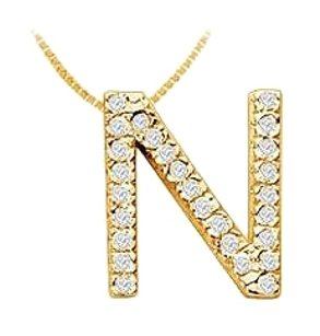 LoveBrightJewelry Classic N Initial Diamond Pendant 14K Yellow Gold 0.45 CT Diamonds