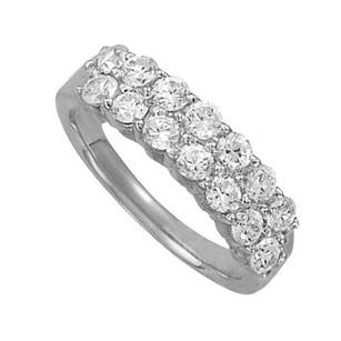 LoveBrightJewelry Cluster Ring with Cubic Zirconia in 14K White Gold