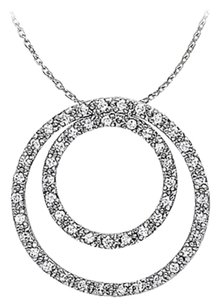 LoveBrightJewelry Conflict Free Diamond Circle Pendant in 14K White Gold
