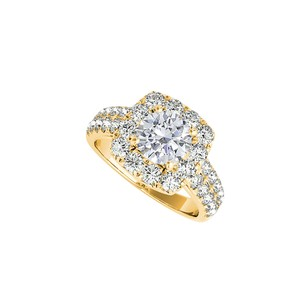 LoveBrightJewelry Conflict Free Diamond Halo Ring in 14K Yellow Gold