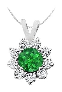 LoveBrightJewelry Created Emerald and Cubic Zirconia Pendant 925 Sterling Silver 0.75 CT TGW