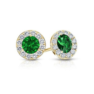 LoveBrightJewelry Created Emerald and CZ Halo Stud Earrings in 14K Yellow Gold