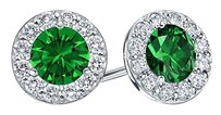LoveBrightJewelry Created Emerald and CZ Halo Stud Earrings in Sterling Silver 1.00.ct.tw