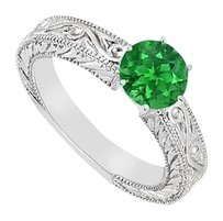 LoveBrightJewelry Created Emerald Ring 925 Sterling Silver 0.50 CT TGW