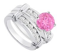 LoveBrightJewelry Created Pink Sapphire & Cubic Zirconia Engagement Ring with Wedding Band Sets 925 Sterling Silve