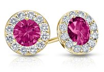 LoveBrightJewelry Created Pink Sapphire And Cz Halo Stud Earrings In 14k Yellow Gold 2.00.ct.tw