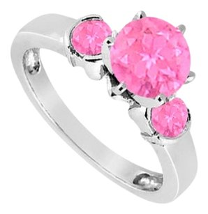 LoveBrightJewelry Created Pink Sapphire Three-Stone Ring in Sterling Silver 1.50 ct. t.w