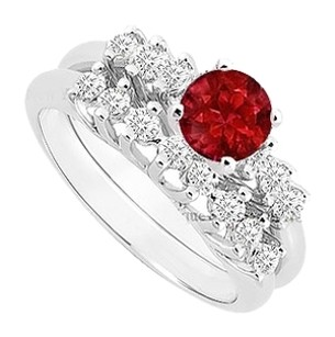 LoveBrightJewelry Created Ruby and Cubic Zirconia Engagement Ring with Wedding Band Set 925 Sterling Silver 0.75 Carat