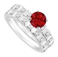 LoveBrightJewelry Created Ruby and Cubic Zirconia Engagement Ring with Wedding Band Set 925 Sterling Silver