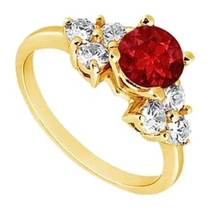 LoveBrightJewelry Created Ruby and Cubic Zirconia Engagement Ring Yellow Gold Vermeil 0.75 CT TGW