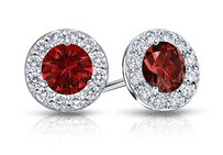 LoveBrightJewelry Created Ruby And Cz Halo Stud Earrings In Sterling Silver 2.00.ct.tw
