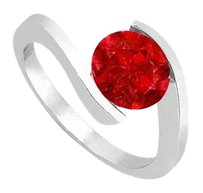 LoveBrightJewelry Created Ruby Solitaire Ring in 925 Sterling Silver One CT Total Gem Weight
