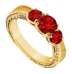 LoveBrightJewelry Created Ruby Three Stone Ring Yellow Gold Vermeil 0.50 CT TGW