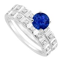 LoveBrightJewelry Created Sapphire and Cubic Zirconia Engagement Ring with Wedding Band Set 925 Sterling Silver
