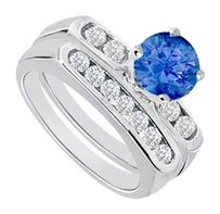 LoveBrightJewelry Created Sapphire & Cubic Zirconia Engagement Ring with Wedding Band Sets 925 Sterling Silver 1 Carat