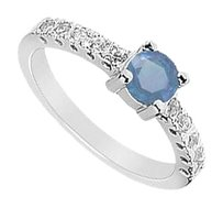 LoveBrightJewelry Created Sapphire and Cubic Zirconia Ring 925 Sterling Silver 0.75 CT TGW