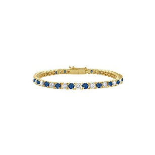 LoveBrightJewelry Created Sapphire and Cubic Zirconia Tennis Bracelet in 18K Yellow Gold