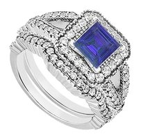 LoveBrightJewelry Created Sapphire and CZ Engagement Ring with Wedding Bands Set in 925 Sterling Silver. 2ct. TGW