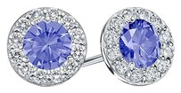 LoveBrightJewelry Created Tanzanite and CZ Halo Stud Earrings in Sterling Silver 2.00.ct.tw