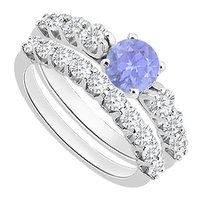 LoveBrightJewelry Created Tanzanite Engagement Ring with Cubic Zirconia Wedding Sets in 925 Sterling Silver 1.75 Carat