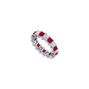 LoveBrightJewelry Cubic Zirconia And Created Ruby Eternity Band 925 Sterling Silver 2.00 Ct Tgw