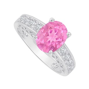LoveBrightJewelry Cubic Zirconia And Oval Pink Sapphire Ring White Gold