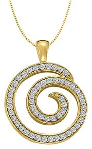 LoveBrightJewelry Cubic Zirconia Circle Fashion Pendant in Gold Vermeil over Sterling Silver 0.50 CT TGW