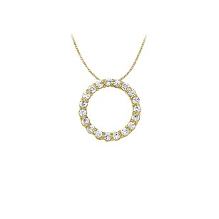 LoveBrightJewelry Cubic Zirconia Circle Pendant in 14K Yellow Gold 1.50 CT TGW