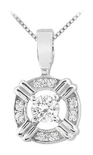 LoveBrightJewelry Cubic Zirconia Circle Pendant in Rhodium Treated 925 Sterling Silver 0.25 Carat TGW