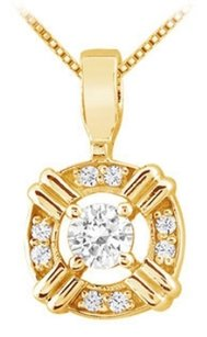 LoveBrightJewelry Cubic Zirconia Circle Pendant in Yellow Gold Vermeil over 925 Sterling Silver 0.25 CT TGW