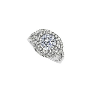 LoveBrightJewelry Cubic Zirconia Double Halo Engagement Ring