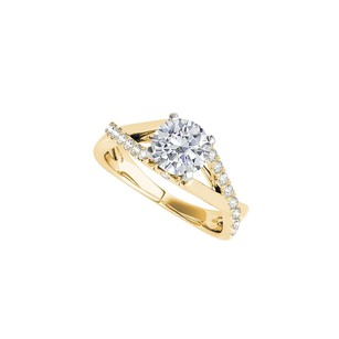 LoveBrightJewelry Cubic Zirconia Engagement Ring With Criss Cross Design