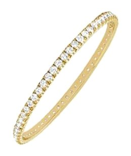 LoveBrightJewelry Cubic Zirconia Eternity Bangle 14K Yellow Gold 2.00 CT CZs