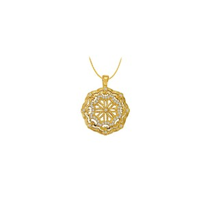 LoveBrightJewelry Cubic Zirconia Fancy Circle Fashion Pendant in Gold Vermeil