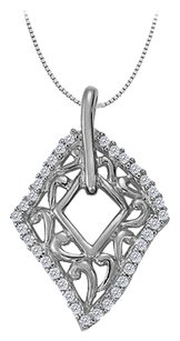 LoveBrightJewelry Cubic Zirconia Fashion Kite Pendant in 925 Sterling Silver 0.25 CT TGW,Jewelry Gift for Women