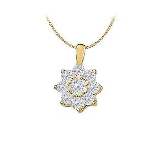 LoveBrightJewelry Cubic Zirconia Fashion Pendant In Gold Vermeil Over Sterling Silver 1.00 Ct Tgwjewelry Gift