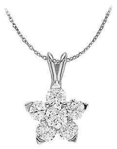 LoveBrightJewelry Cubic Zirconia Flower Pendant in Sterling Silver Unique Jewelry Set with Free 16 Inch Chain