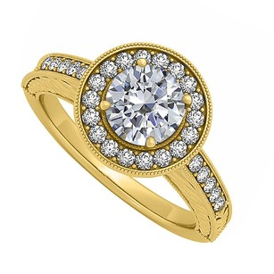 LoveBrightJewelry Cubic Zirconia Halo Engagement Ring In 18k Yellow Gold Vermeil Beautiful Design With Fabulous Pr