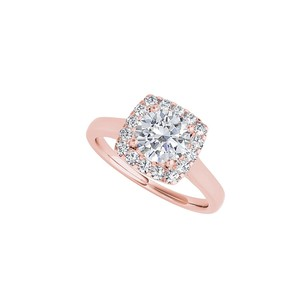 LoveBrightJewelry Cubic Zirconia Halo Ring in 14K Rose Gold Vermeil