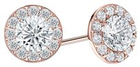 LoveBrightJewelry Cubic Zirconia Halo Stud Earrings in 14K Rose Gold Vermeil Silver 2 CT TGW