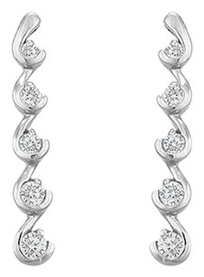 LoveBrightJewelry Cubic Zirconia Journey Earrings Sterling Silver 0.50 CT CZs