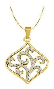 LoveBrightJewelry Cubic Zirconia Square Shaped Pendant in Gold Vermeil over Sterling Silver 0.25 CT TGW
