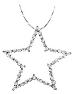 LoveBrightJewelry Cubic Zirconia Star Pendant in Sterling Silver 1.00 CT TGW,Perfect Jewelry Gift