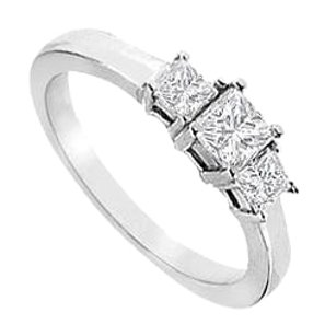 LoveBrightJewelry Cubic Zirconia Three-Stone Ring in Sterling Silver 2.00 ct. t.w.